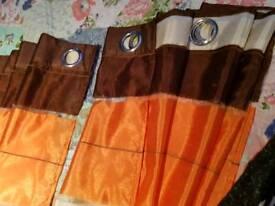 Orange & cream curtains ring top & orange cushion covers £25