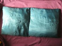 Two Turquoise Cushions with Sequins in Pattern