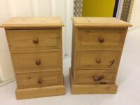 2 x pine bedside tables each with 3 draws