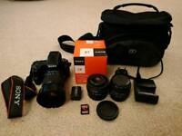 Sony Alpha Slt a37 16.1MP camera with 3 lenses and camera bag