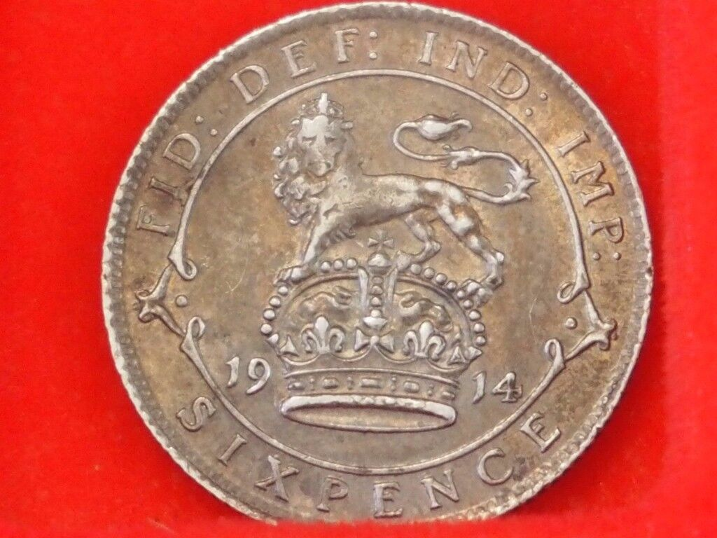 1914 King George V Silver Sixpence coin