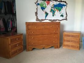 Set of rattan drawers and bedside cabinets