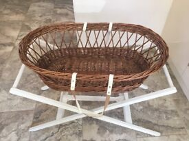 Very good condition baby moses basket. No pet house. Cover included.