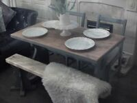 shabby chic oak refectory table with bench and two chairs