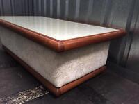 Mahogany coffee and side table with fabric and glass top