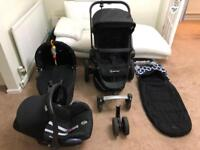 Quinny Buzz travel system with adapter and additional wheels