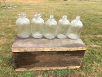 Five vintage glass bell jars