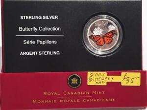 2005 STERLING SILVER 50 CENT COIN - MONARCH BUTTERFLY
