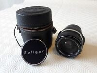 Soligor wide angle camera lens with case