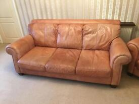 3 seater and 2 seater antique tan leather sofas Allestree
