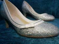 Customisised bejewelled wedding shoes size 4