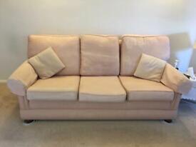 Pink fabric 3 piece sofa set