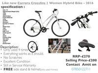 Like new Carrera Crossfire 1 Women Hybrid Bike - 2016