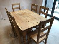 Country style dining table + 6 hardwood chairs
