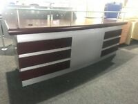 Walnut and silver executive reception desk with glass detail- desk and storage at rear-slight marked