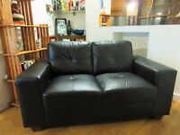 Black two-seater leather sofa ***Very good condition***