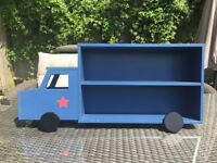 Lovely Lorry design bookshelf. Blue. Good condition. Great in a playroom or child's bedroom