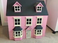 Wooden Child's Dolls House with John Lewis Furniture