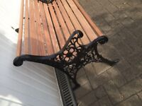 Restored garden bench, all new wood & coachbolts, repainted cast iron ends