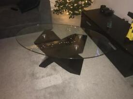 High gloss and glass coffee table