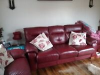 Leather sofas, cushions & matching curtains, curtain poles & lamps.