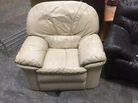 Light cream leather armchair