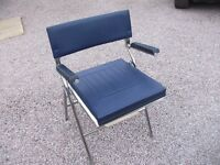 LOVELY SOLID HEAVY DUTY CHROME FOLDING COMMODE CHAIR WITH BLUE PADDED VINYL