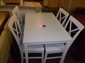 New white dining table + 4 white cross back chairs