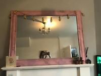 Pink wood effect mirror