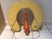 ADEC yellow horseshoe buoy with stainless steel mounting bracket