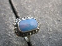 Hallmarked silver opal ring
