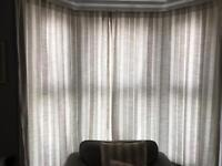 Laura Ashley cream and beige striped curtains