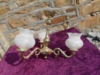 Ceiling Light. Gold antique style with 3 arms and with glass shades.