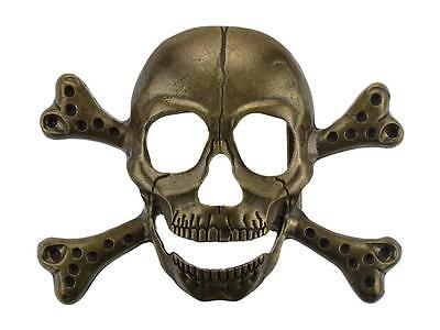 Fibbia per cinture forma di teschio 3D disponibile metallo bronzo o argento