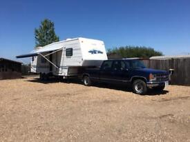 Chevy 3500 truck and fifth wheel American caravan