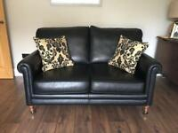 Quality leather Midas bespoke 3-piece suite 2 sofas and fabric chair
