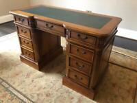 Solid Mahogany Handmade Leather Top Desk