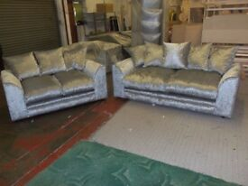 ❋❋ BRAND NEW ❋❋ DYLAN CORNER AND 3+2 SEATER SOFA SUITE❋❋ CRUSHED VELVET FABRIC