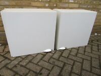 Two White 600mm wall units complete with doors and all fittings - £10 - Collection only
