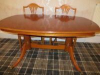 Yew - Reduced - dining table seats 6/10 , 4 matching chairs and 2 carver chairs