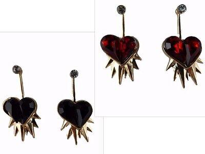 Ohrringe Ohrstecker Stecker Herz mit Flammen rot schwarz Liebe Zacken 2 - teilig (Flamme Ohrringe)