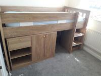 Light oak mid sleeper bed