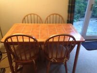 Wooden Table with tile top & 4 Wooden Chairs