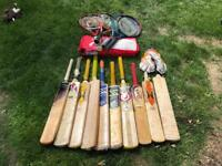 Selection of juniors cricket bats and tennis rackets