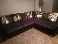 CSL large corner sofa black and grey great condition
