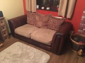 Leather/fabric 3 & 2 seater sofas with large scatter cushions