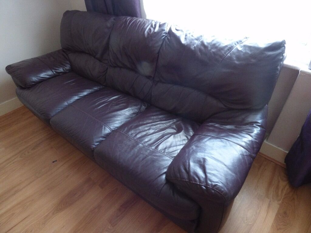 3 Seater Burgundy Leather Sofa - Used