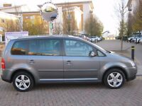 56 REG 2006 VW TOURAN SPORT 2.0 TDI DSG AUTOMATIC, 2 OWNER, 12 MOT, 82K F/S/H, 7 SEATER CAR, HPI