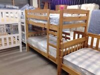 Solid Pine, antique pine finish, ranch style, Shelley bunk bed frame, HUGE DISCOUNT just £80!