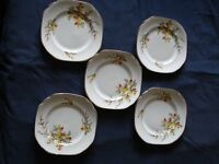 5 'Diamond' bone china side/dessert/tea plates, floral pattern, in very good condition
